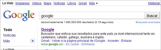 Google.es según Google.es