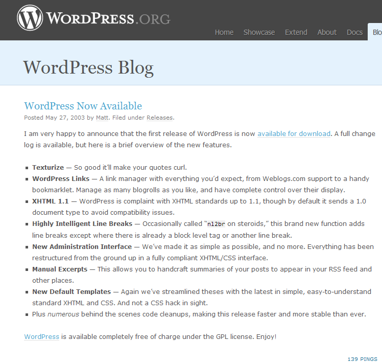 WordPress Now Available