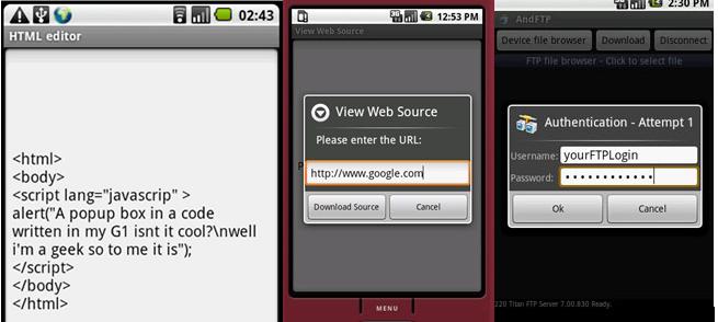trío de app android para diseño web
