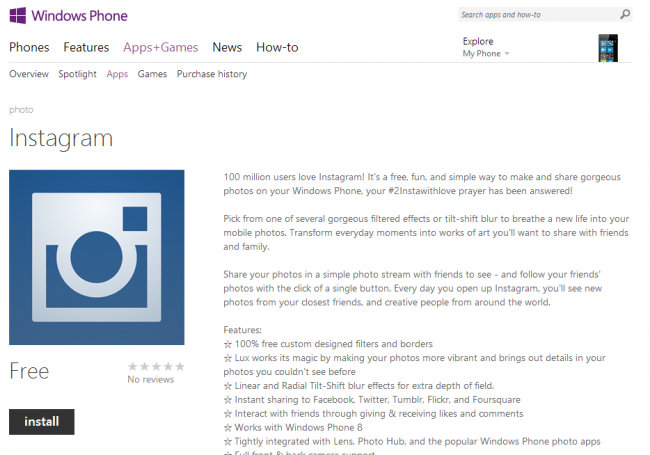 Instagram   Windows Phone Apps Games Store  United States