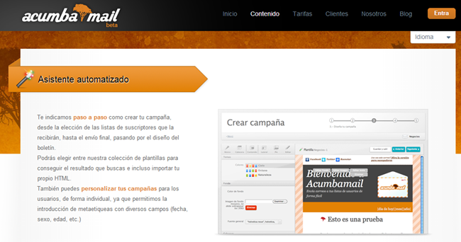Servicios Email marketing   estadísticas emailing   integración SMTP   Acumbamail