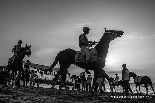 Los caballos y jinetes momentos antes de la salida