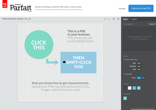 Project Parfait  Beta    PSD CSS Extraction  Measurements and Image Optimization Service for the Web
