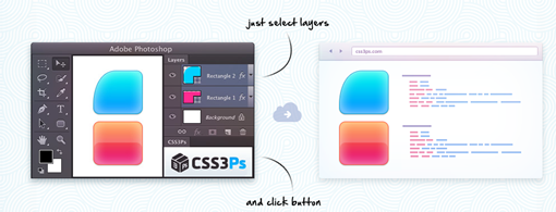 CSS3Ps free cloud based photoshop plugin that converts layers to CSS3 styles.