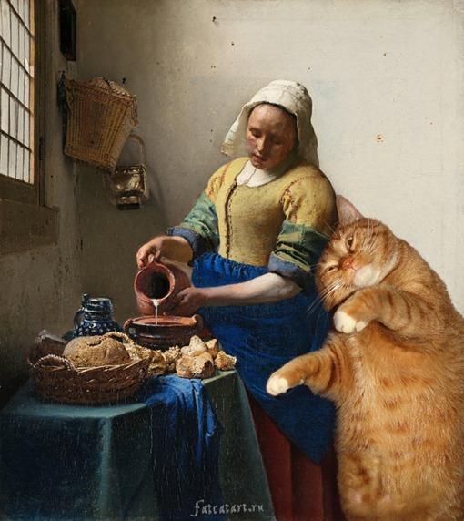 vermeer-the-milkmaid-cat
