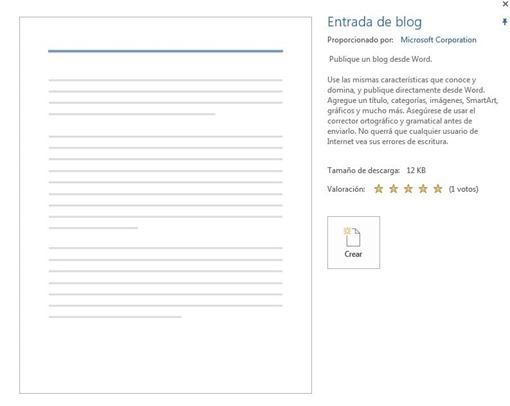 plantilla blog de Word