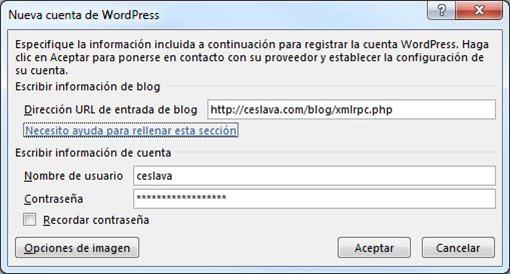 conexión a WordPress de Microsoft Word