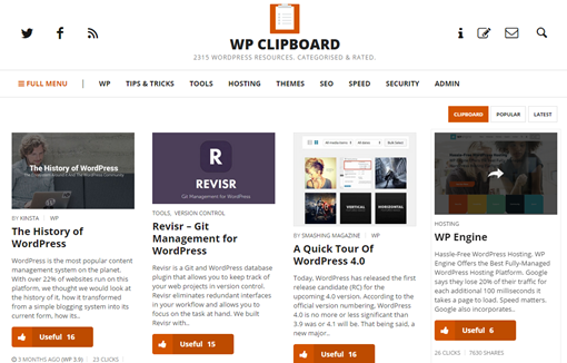WP Clipboard   WordPress Resources. Categorised   Rated.