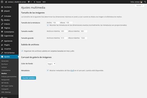 Ajustes multimedia ‹ ceslava   diseño   cursos — WordPress