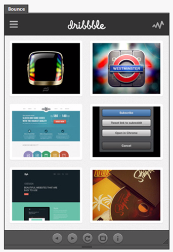 Bounce An extension that integrates Dribbble into your favourute Adobe design apps.
