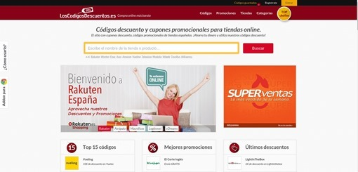 captura de pantalla loscodigosdescuentos.es