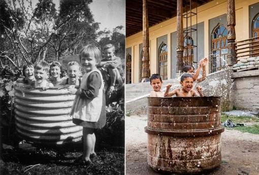 niños jugando bañarse cubo antes y ahora en Tayikistán