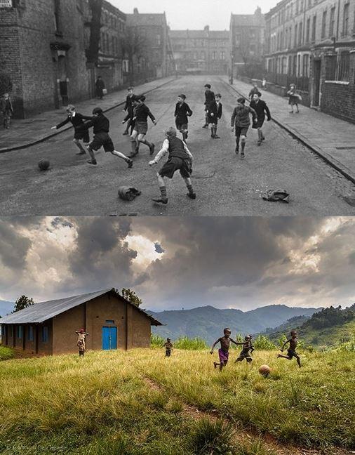 niños jugando futbol Inglaterra antes y ahora Uganda-2