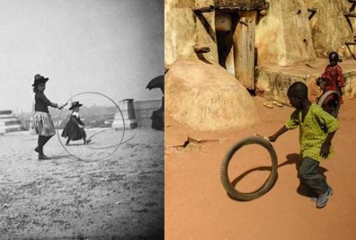 niños jugando rueda 1888 y ahora Burkina Faso