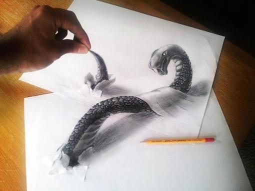Ramon Bruin Ilustraciones anamórficas en una hoja de papel 3D (1)