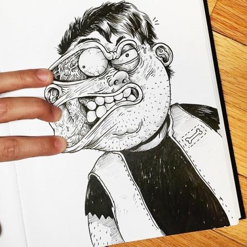 alex solis inkteraction ilustraciones anamórficas que salen del papel (4)
