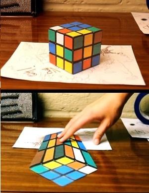crea tu propia anamorfosis ilusión óptica 3D dibujo papel (1)