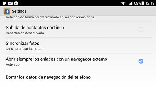 desactivar navegador facebook app android