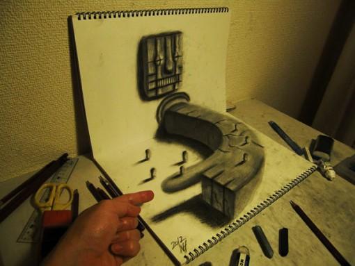 dibujos 3D nagai hideyuki   Ilustraciones anamórficas en una hoja de papel  (4)