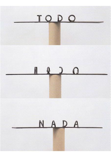 escultura ilusion optica tipografia 3D Markus RaetzTODO NADA