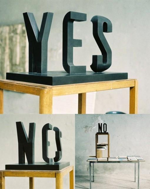 escultura ilusion optica tipografia 3D Markus RaetzYES NO