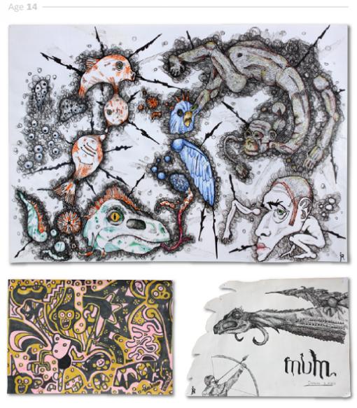 evolución dibujos de 2 a 24 años Jake Lockett (12-1)