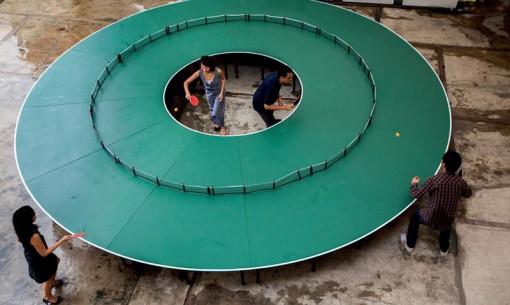 mesa Ping Pong gigante circular 360 grados