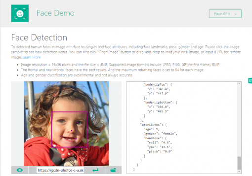 Microsoft Project Oxford Demo Face