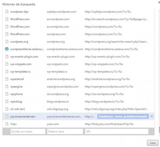 motor búsqueda personalizado Google Chrome
