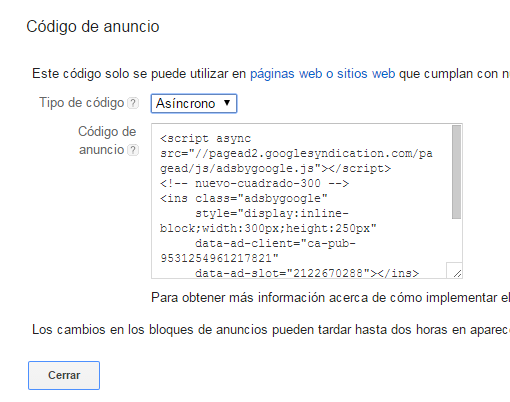 Google AdSense síncrono asíncrono anuncio