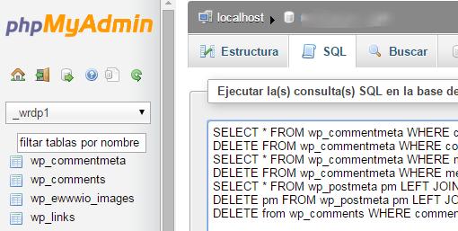 limpiar BBDD WordPress  comentarios SPAM  phpMyAdmin