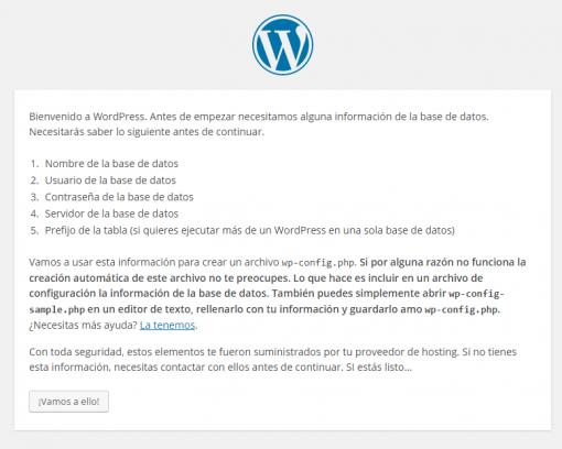 WordPress › Instalación del archivo de configuración.