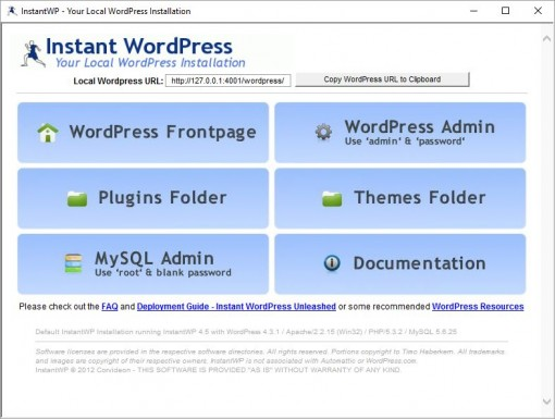 instant WordPress instalar local
