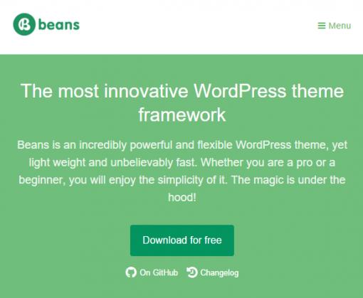 The most innovative WordPress theme framework Beans WordPress theme framework