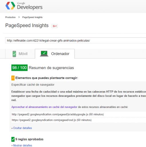 PageSpeed Insights adsense