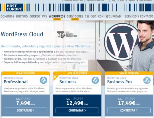 WordPress Cloud Host Europe
