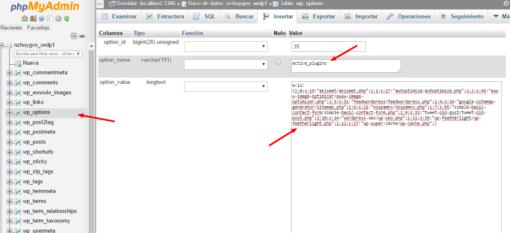 Cómo activar un plugin de WordPress con PHPMyAdmin ceslava 0