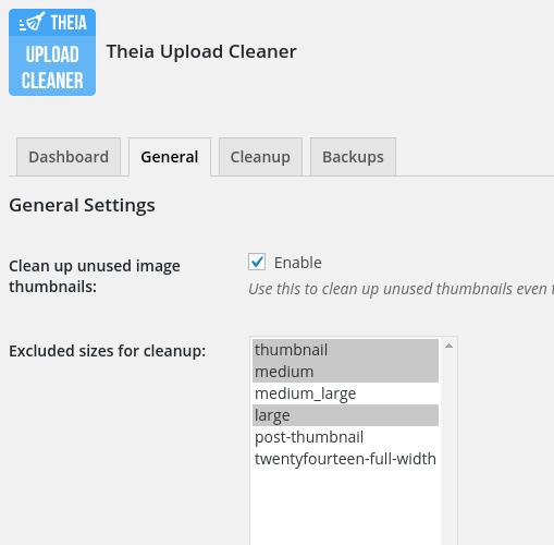 Theia Upload Cleaner eliminar tamaños inútiles de imagen